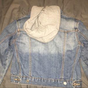 Jean cropped jacket with hoodie‼️